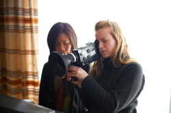 Director of Cinematography Iris Ng (left) with Director Sarah Polley (right) in STORIES WE TELL. Credit: Ken Woroner